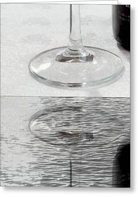 Glass Wall Greeting Cards - Glass of Wine Painterly Mirrored Greeting Card by Barbara Griffin