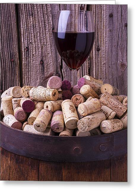 Stopper Photographs Greeting Cards - Glass Of Wine With Corks Greeting Card by Garry Gay
