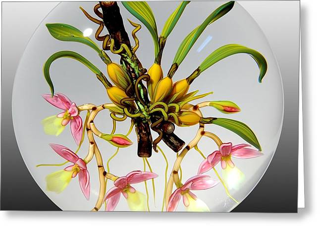 Antique Glass Greeting Cards - Glass Orchids Bulbs and Branches Greeting Card by Chris Buzzini