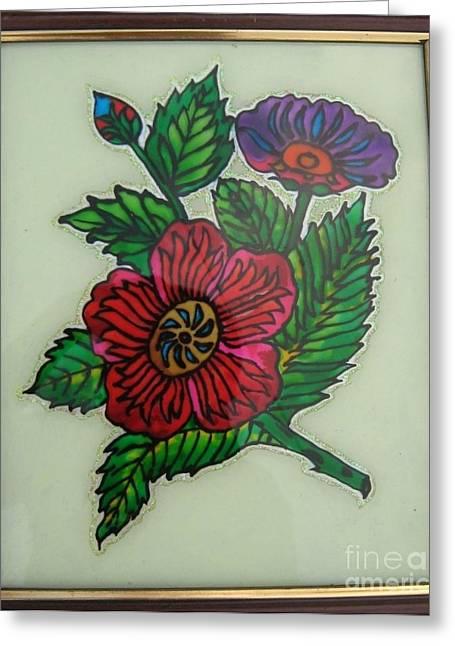 Wall-hanging Glass Greeting Cards - Glass painting Greeting Card by Gayathri Thangavelu