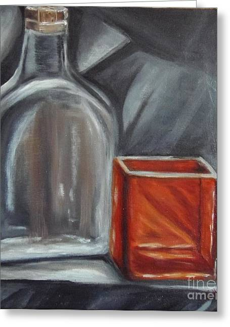 Decanters Paintings Greeting Cards - Glass Reflections Greeting Card by Isabel  Honkonen