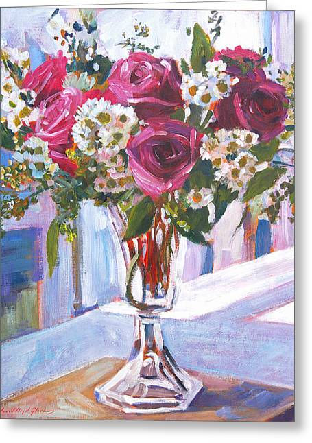 Window Panes Greeting Cards - Glass Roses Greeting Card by David Lloyd Glover