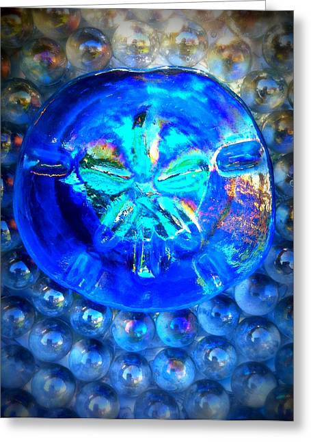 Sand Glass Greeting Cards - Glass Sand Dollar Greeting Card by Rebecca Tkaczyk