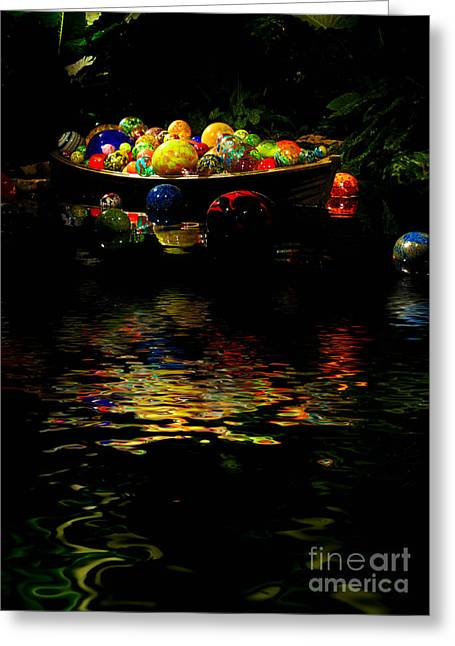 Glasswork Greeting Cards - Glass Sculpture Balls in Rowboat Greeting Card by Amy Cicconi