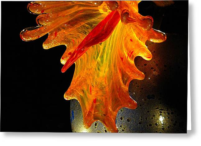 Glass Sculpture Orange Flowerbud Greeting Card by Amy Cicconi
