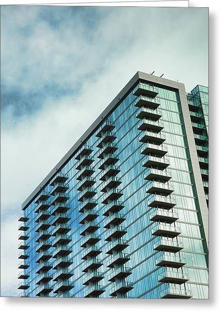 Architecture Of Nashville Greeting Cards - Glass Skyscraper Downtown Nashville Tennessee Greeting Card by Jai Johnson