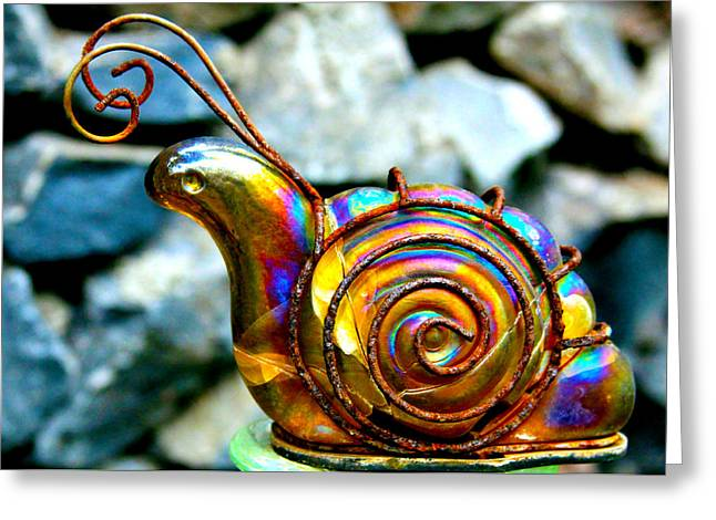 Patio Decor Greeting Cards - Glass Snail Garden Art Greeting Card by Karon Melillo DeVega