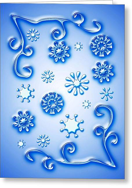 Fractal Greeting Cards Greeting Cards - Glass Snowflakes Greeting Card by Anastasiya Malakhova