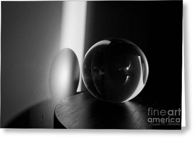 Glass Ball Greeting Cards - Glass Sphere in Light and Shadow Greeting Card by David Gordon