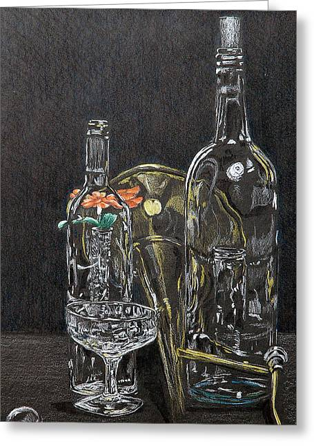 Glass Bottle Drawings Greeting Cards - Glass Still life Greeting Card by Steve Cost