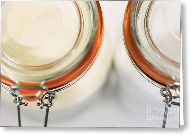 Kitchen Photos Digital Greeting Cards - Glass Sugar Jars Greeting Card by Natalie Kinnear