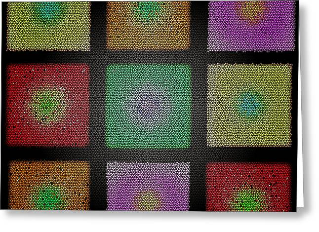Abstract Digital Photographs Greeting Cards - Glass Tile Duvet Greeting Card by Larry Bishop