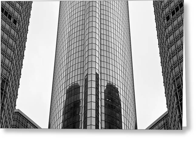 Renaissance Center Greeting Cards - Glass tower Greeting Card by Aileen Mozug