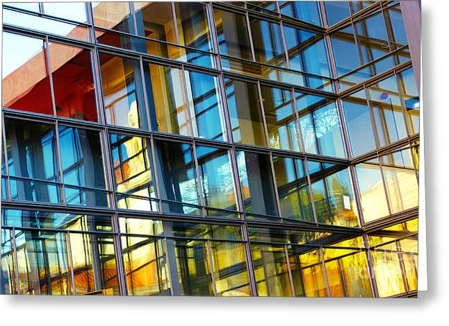 Urban Buildings Greeting Cards - Glass Windows Background Greeting Card by Carlos Caetano