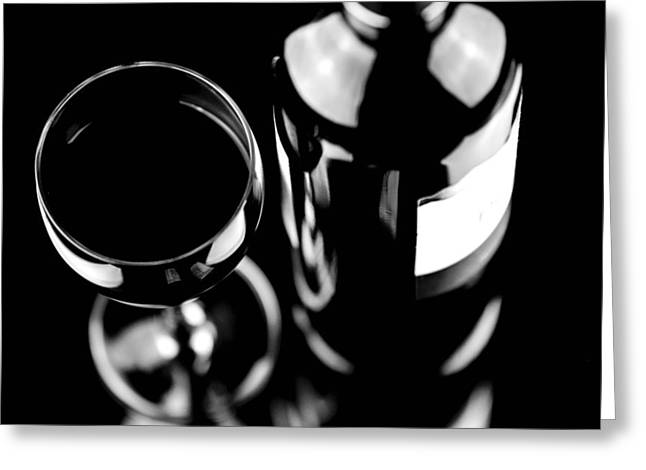 Isolated Object Greeting Cards - Glass with bottle of wine Greeting Card by Toppart Sweden