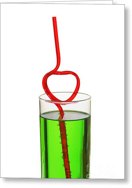 Tea Drinking Greeting Cards - Glass With Heart Straw Greeting Card by Aleksey Tugolukov