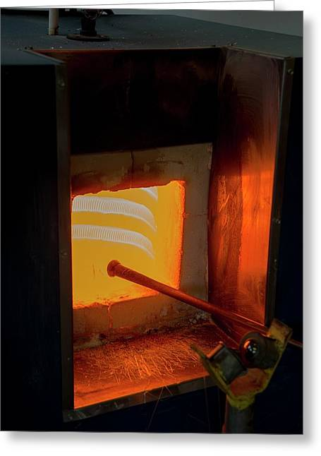 Glassblower's Furnace Greeting Card by Photostock-israel
