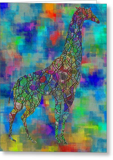 Abstracted Colorful Reality Greeting Cards - Glassed Giraffe Greeting Card by Jack Zulli