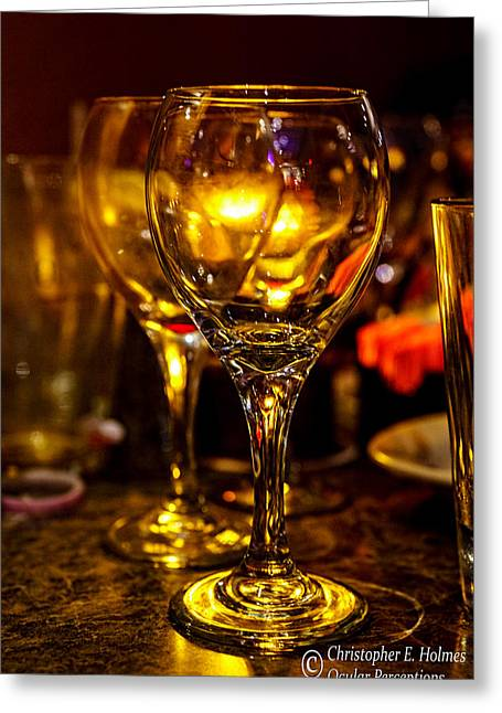 Glasses Aglow Greeting Card by Christopher Holmes