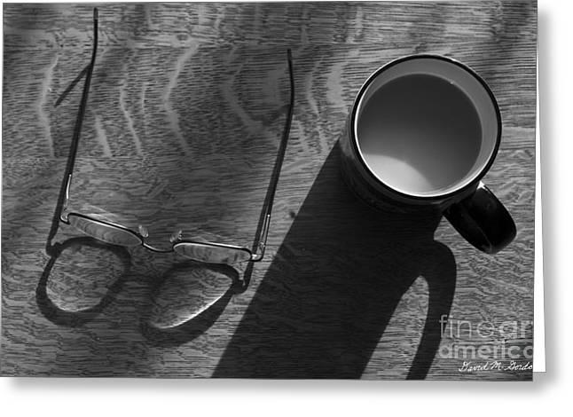 Silver Eye Shadow Greeting Cards - Glasses and Coffee Mug Greeting Card by David Gordon