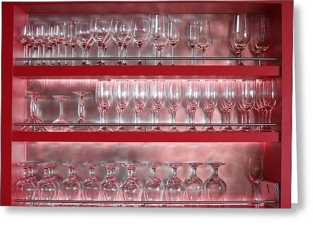 Shelving Greeting Cards - Glasses at the Bar Greeting Card by Mountain Dreams
