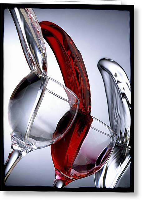 Wine Pouring Greeting Cards - Glasses Greeting Card by Billie-Maree Ward