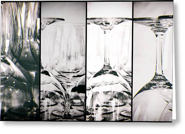 Degustation Greeting Cards - Wine Glasses Collage Greeting Card by Nomad Art And  Design