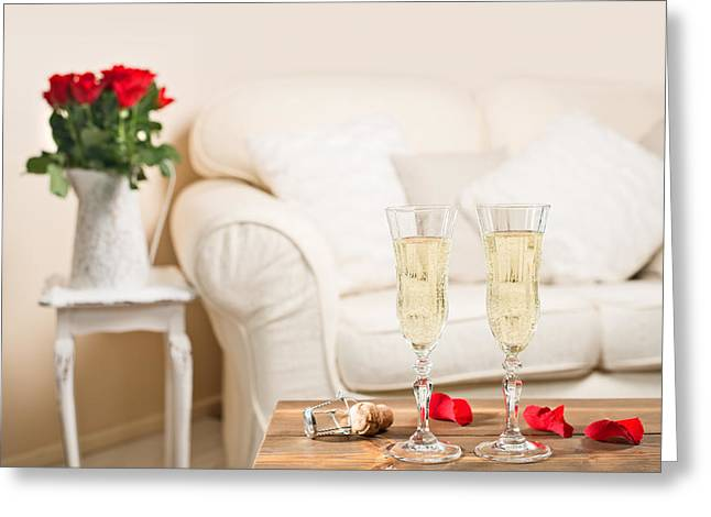Champagne Glasses Greeting Cards - Glasses Of Champagne Greeting Card by Amanda And Christopher Elwell