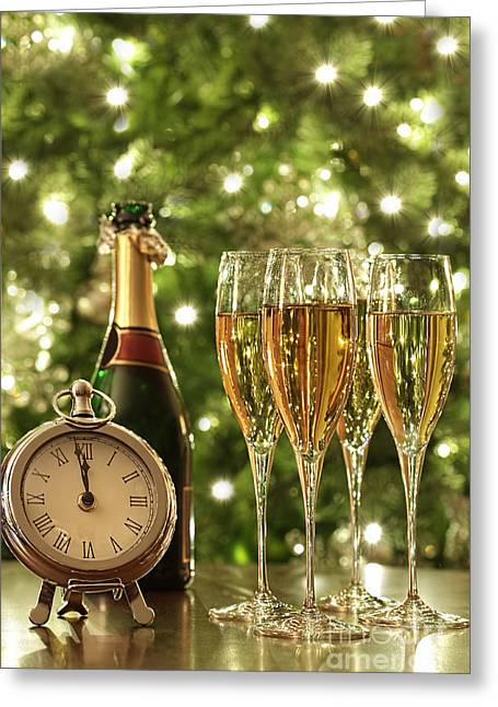 Christmas Eve Greeting Cards - Glasses of champagne for New Years Greeting Card by Sandra Cunningham