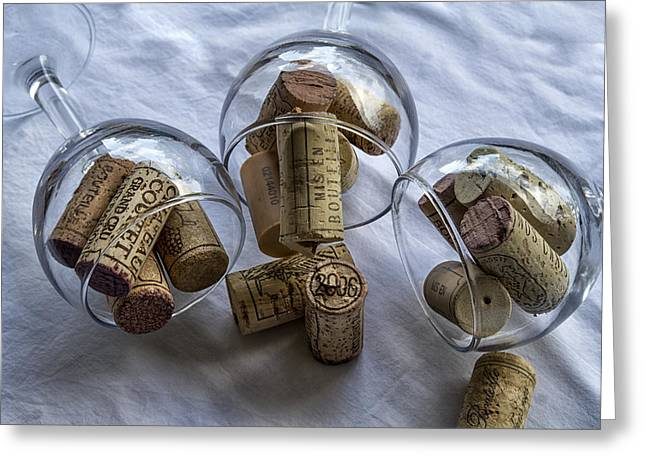 South Of France Greeting Cards - Glasses of Corks Greeting Card by Nomad Art And  Design