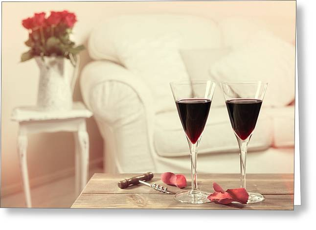 Cushion Photographs Greeting Cards - Glasses Of Red Wine Greeting Card by Amanda And Christopher Elwell