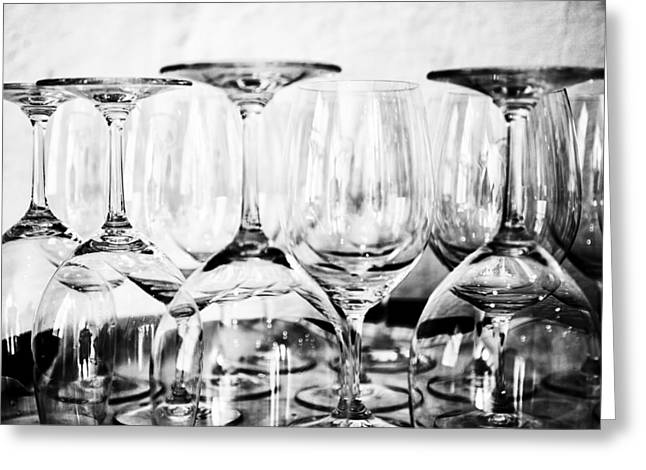 Wine Reflection Art Greeting Cards - Glasses on a Barrel BW Greeting Card by Nomad Art And  Design