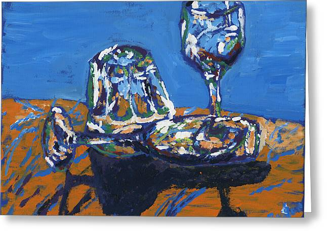 Wine Reflection Paintings Greeting Cards - Glasses Greeting Card by Preston Sandlin
