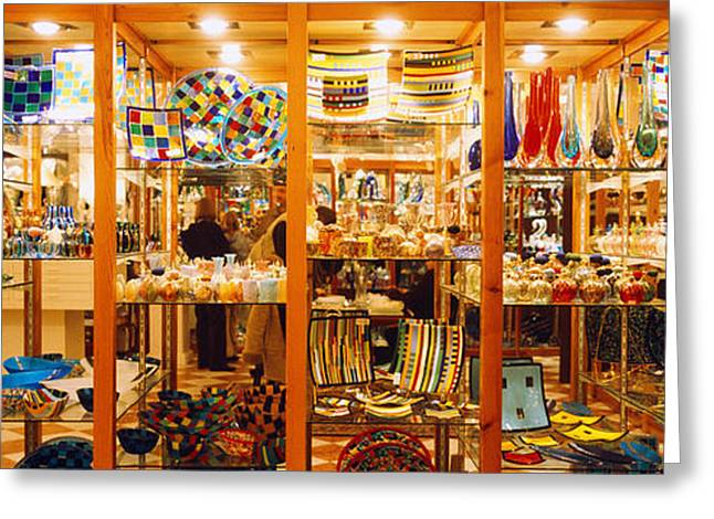 Window Display Greeting Cards - Glassworks Display In A Store, Murano Greeting Card by Panoramic Images