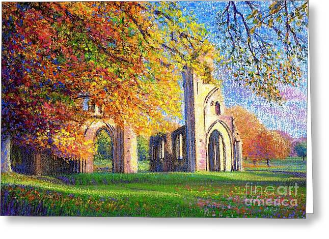 Most Paintings Greeting Cards - Glastonbury Abbey Fall Greeting Card by Jane Small