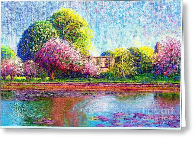 Wild Orchards Paintings Greeting Cards - Glastonbury Abbey Lily Pool Greeting Card by Jane Small