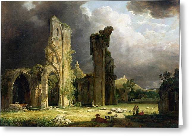 Ruins Paintings Greeting Cards - Glastonbury Abbey With The Tor Greeting Card by George Arnald