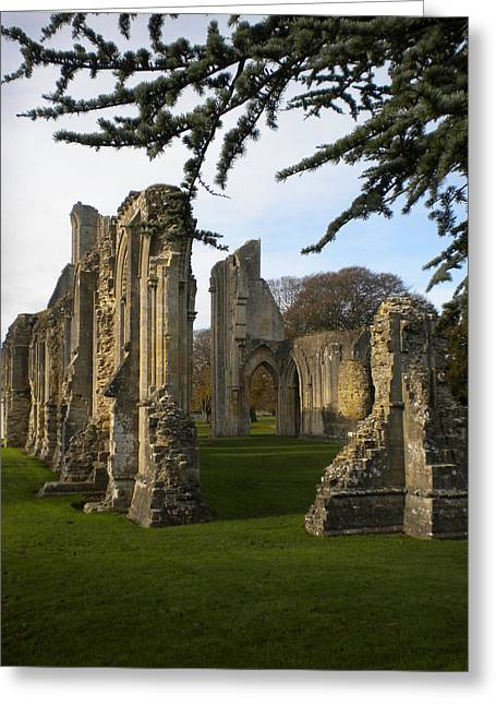 Guinevere Paintings Greeting Cards - Glastonbury Abby Ruins Greeting Card by Maura Satchell