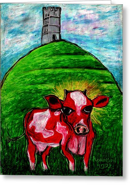 Tor Pastels Greeting Cards - Glastonburys Holly Cow Greeting Card by Denis Rodinson