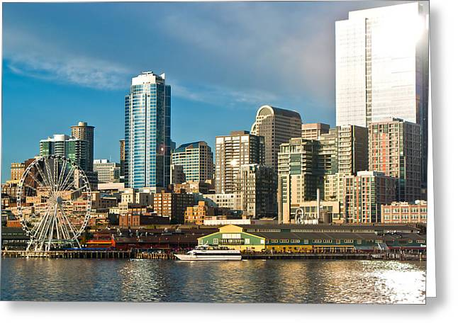 Seattle Waterfront Greeting Cards - Gleam Greeting Card by Justin  Curry