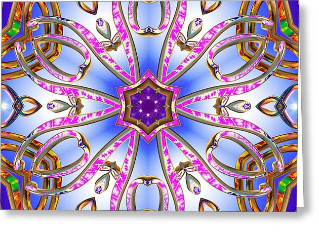 Gleaming Mixed Media Greeting Cards - Gleaming Flower Bands Greeting Card by Derek Gedney