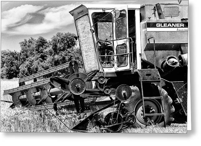 Bill Kesler Greeting Cards - Gleaner F Combine in Black-and-White Greeting Card by Bill Kesler