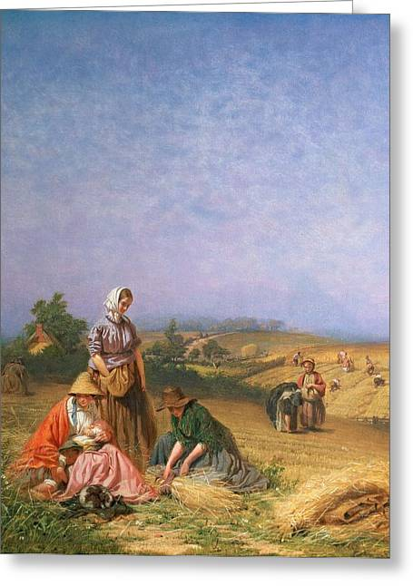 Bales Paintings Greeting Cards - Gleaning Greeting Card by George Elgar Hicks