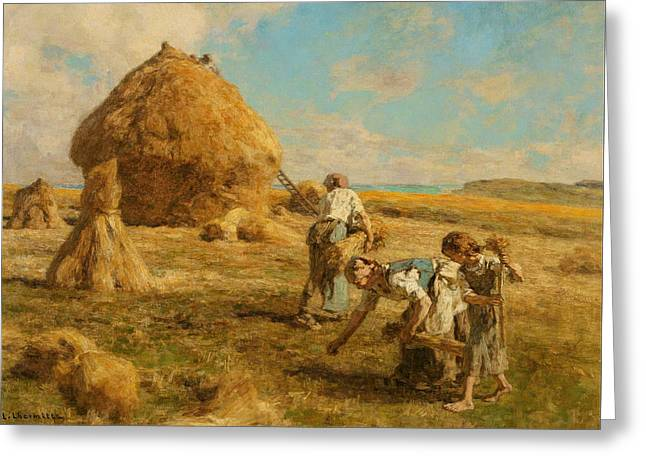 Gleaning Greeting Cards - Gleaning Women Greeting Card by Leon-Augustin Lhermitte