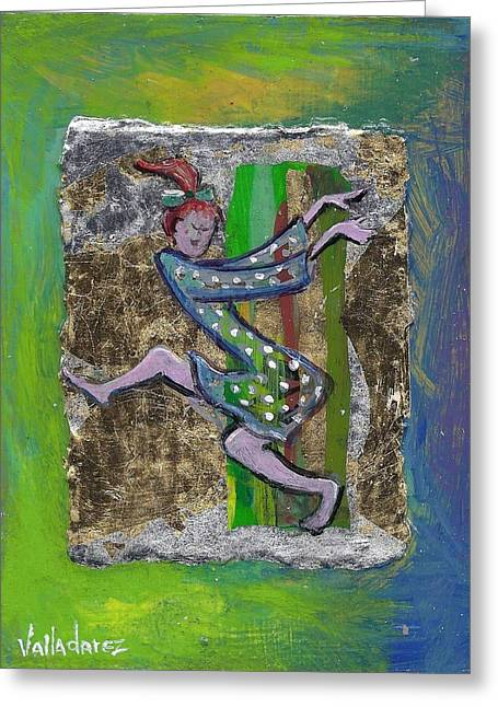 Shimmy Greeting Cards - Gleeful Dancer Greeting Card by Maria Valladarez
