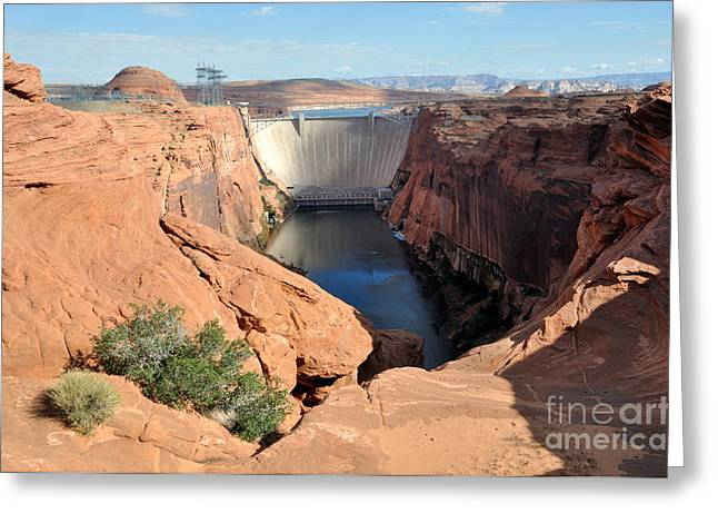 Transporation Greeting Cards - Glen Canyon Dam on the Colorado River Greeting Card by Gary Whitton