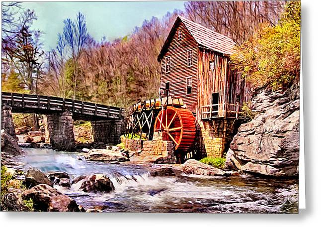 Grist Mill Greeting Cards - Glen Creek Grist Mill Painting Greeting Card by  Bob and Nadine Johnston