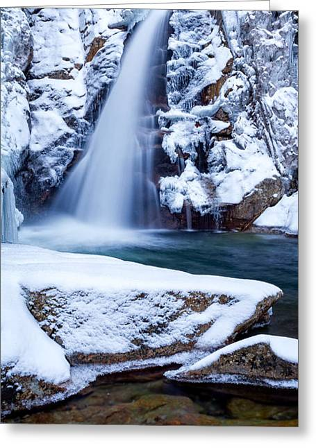 Mountains In Winter Greeting Cards - Glen Ellis Falls - Winter Beauty Greeting Card by Jeff Sinon