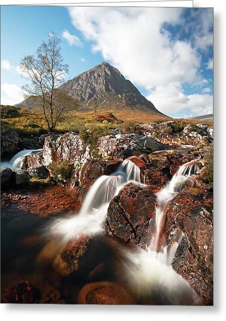 Buachaille Etive Mor Greeting Cards - Glen Etive mountain waterfall Greeting Card by Grant Glendinning