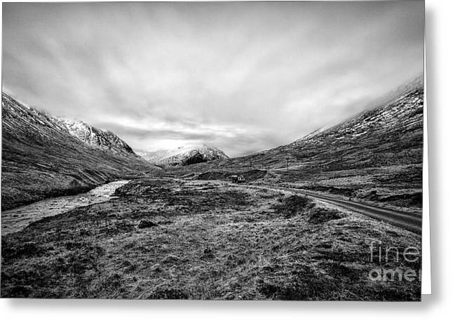 Beautiful Scenery Greeting Cards - Glen Etive road and river Greeting Card by John Farnan